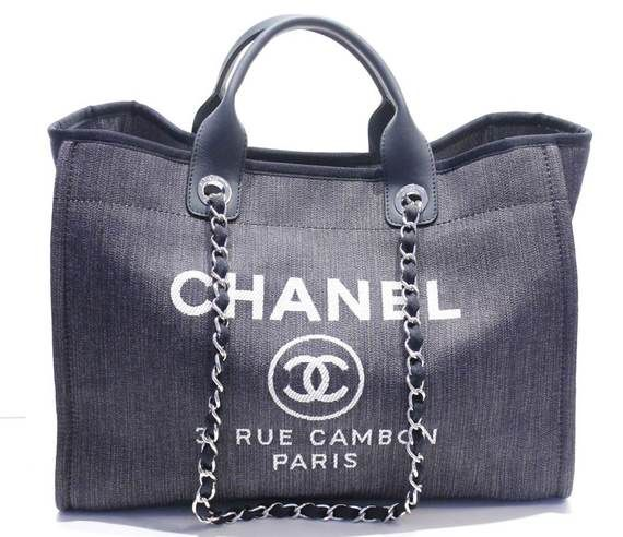 2365ecf178d0 Chanel Dark Blue Denim Tote Leather Handle Fabric Laced Chain Strap ...