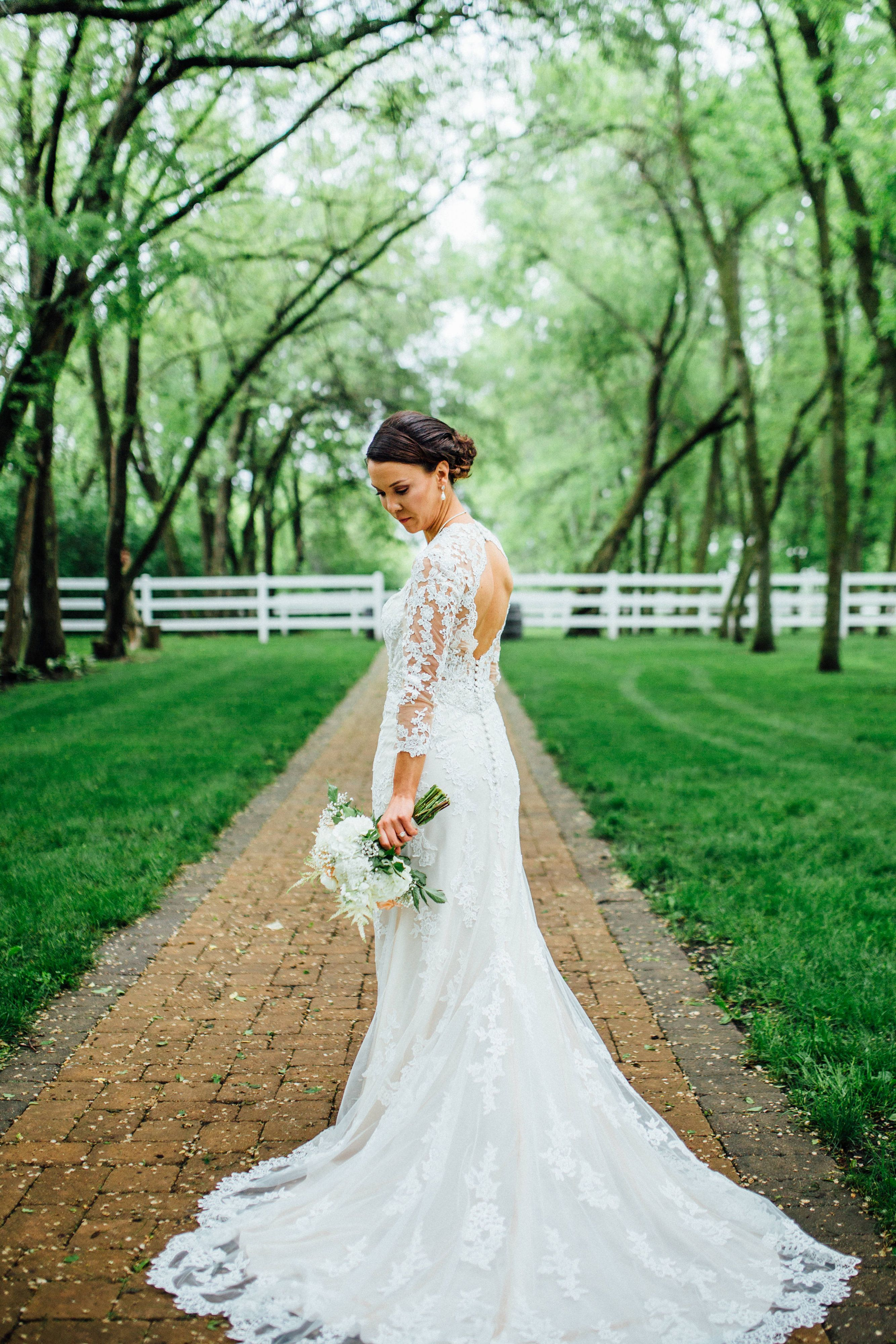 Green dress for wedding  A gorgeous lace bridal gown with  length sleeves and a stunning