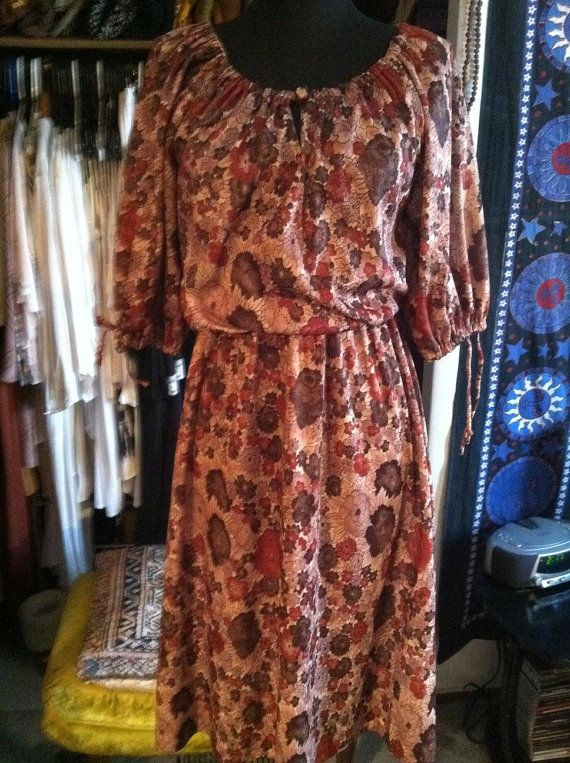 Earthy Floral OffShoulder 70s Midi Dress XSM by LonelyMoonChild, $34.99