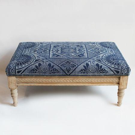 Sold But So Perfect Navy Indigo Dot Pattern Ottoman