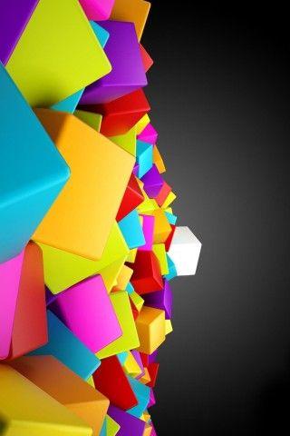 Colorful 3d Blocks Cubes Iphone 5 Wallpaper Iphone 3 Wallpaper