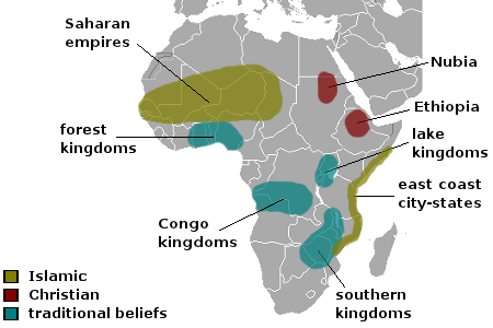 A Map Showing Kingdoms In Sub Saharan Africa Color Represents Which Religion Spread There