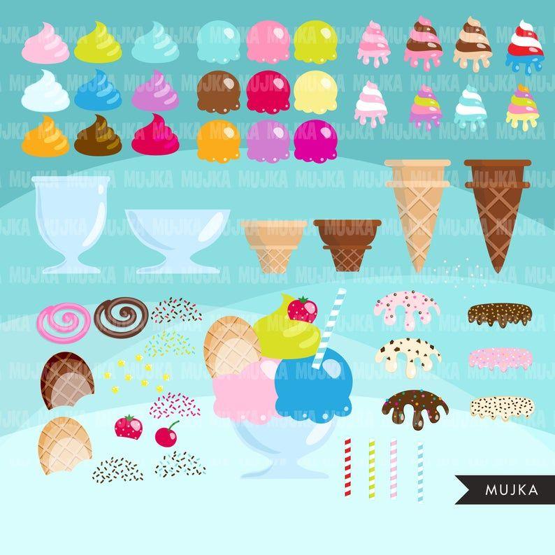 Ice Cream Treats Digital Paper Pack Instant Download