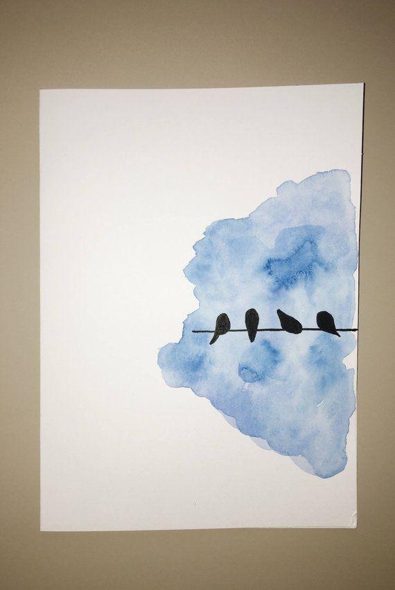 Vögel auf einer Drahtkarte, Vogelgrußkarte, handgemalte Karte, Aquarellkarte, Vogelschattenbild, Wasser