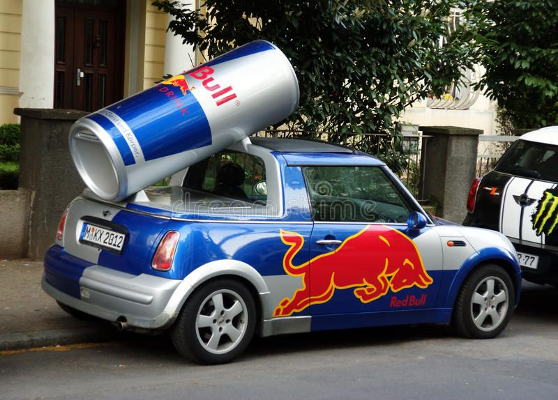 Redbull car. Red Bull promo car, parking in frankfurt