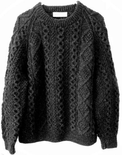 100 Wool Aran Irish Fisherman Sweater Charcoal Black Cable Knit Mens