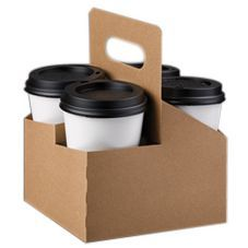 Lbp Kraft Board 4 Cup Carrier Handle 2348608 Coffee Sleeves Servers Carriers Werstrom Restaurant Supply