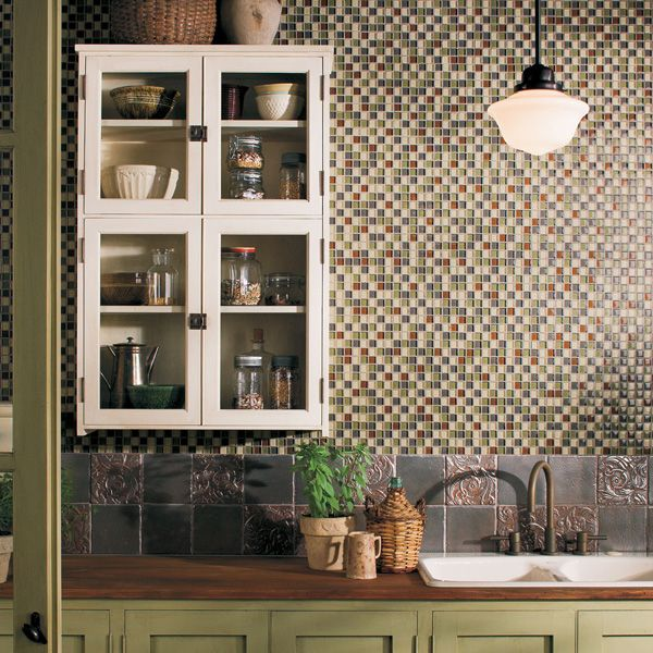 Daltile kitchen featuring glass reflections 1 x 1 urban for Camo kitchen ideas