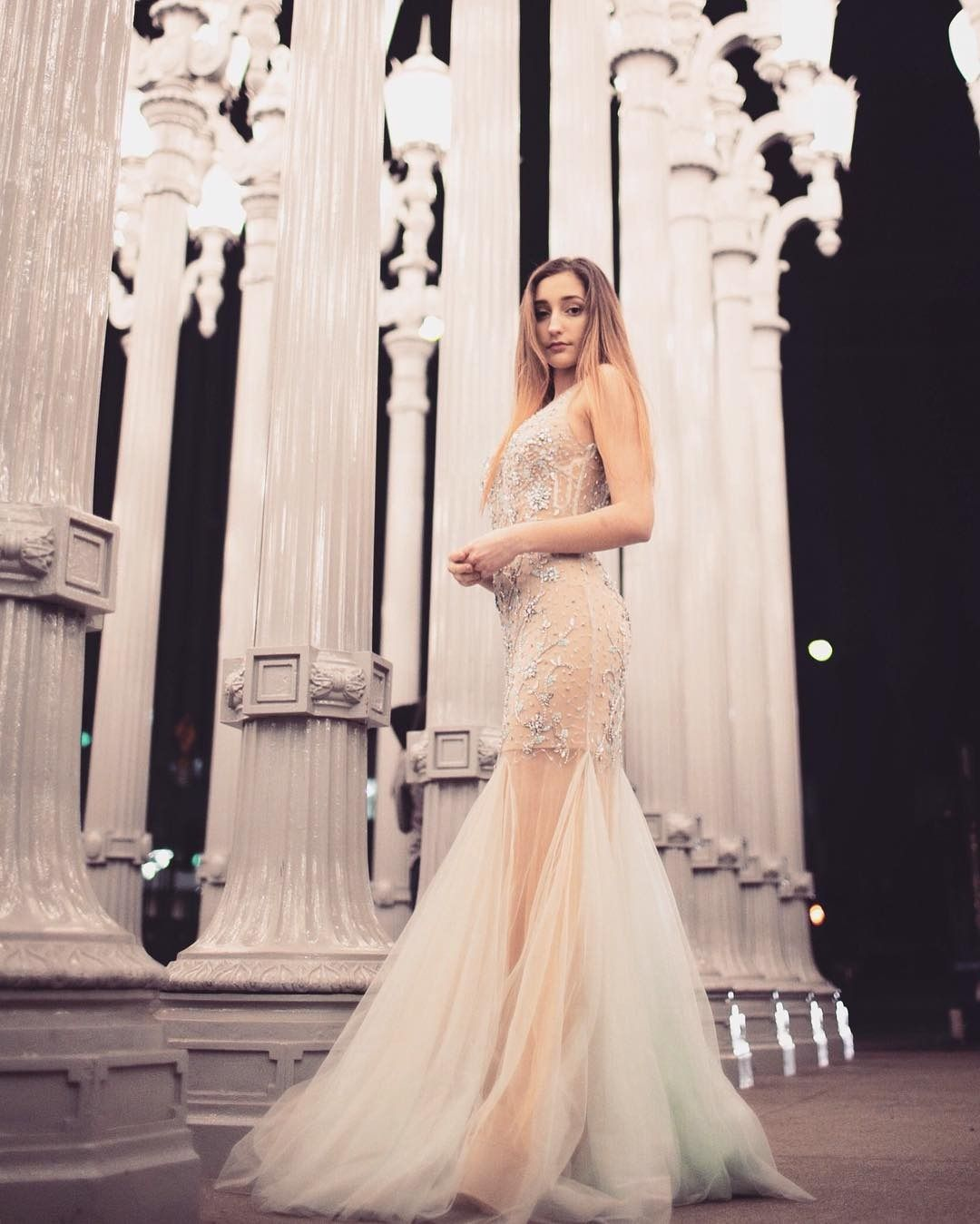 Hailey sani dons this illusion mermaid prom dress with beaded bodice