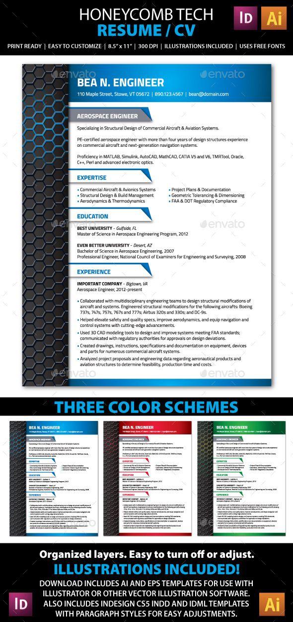Clean, Modern Tech Industry Resume / CV template My Print