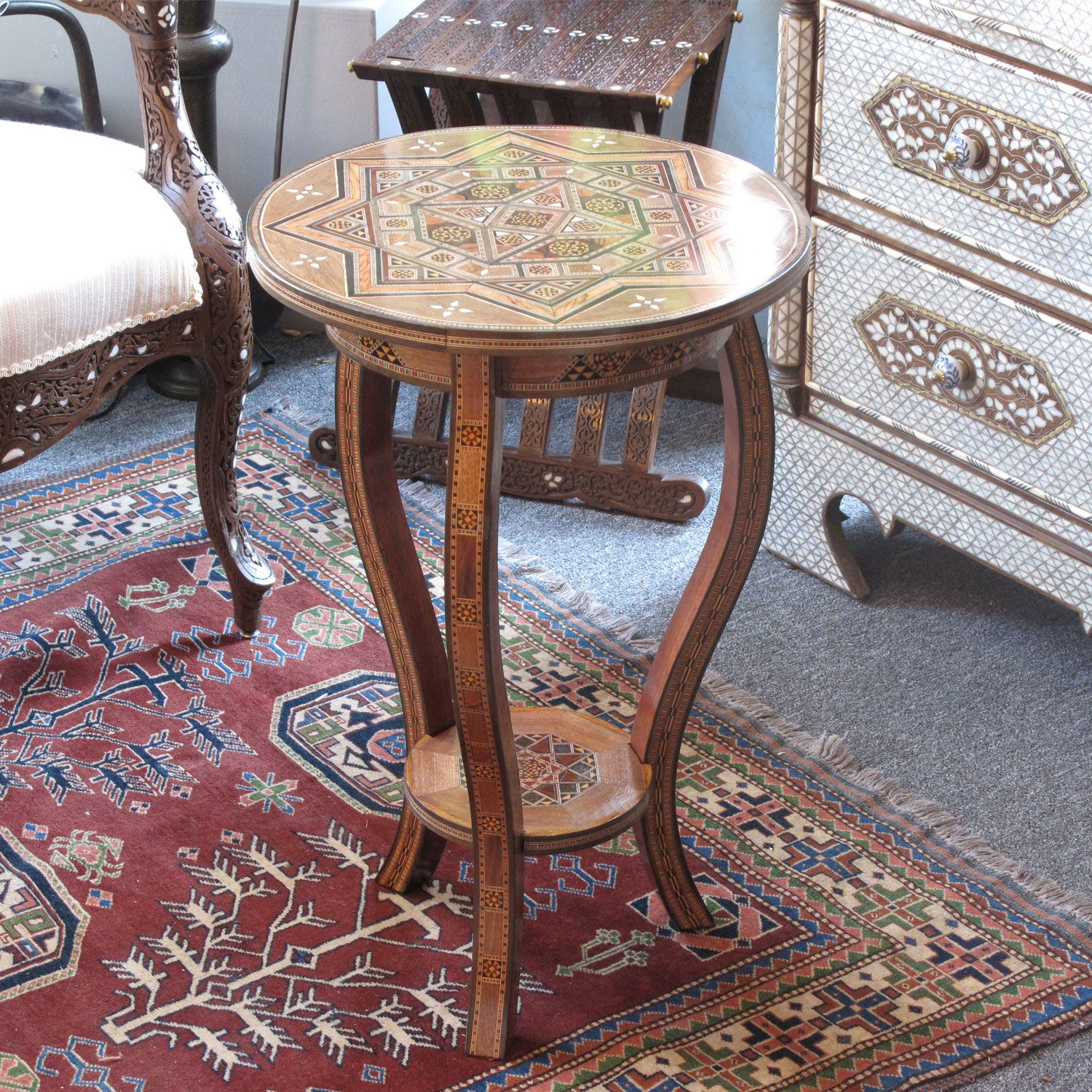 Moroccan & Syrian Furniture  Syrian Mosaic Table Inlaid With