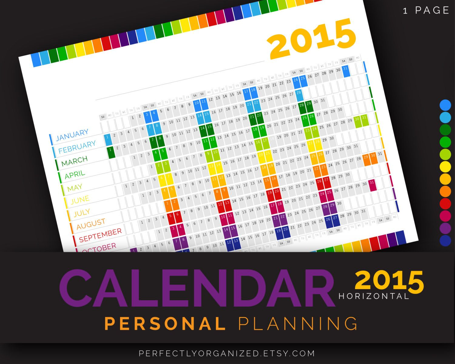 50% OFF 2015 Calendar Year Calendar Personal Planning Kit || Rainbow Printable Planner Organizer Binder PDF Printables