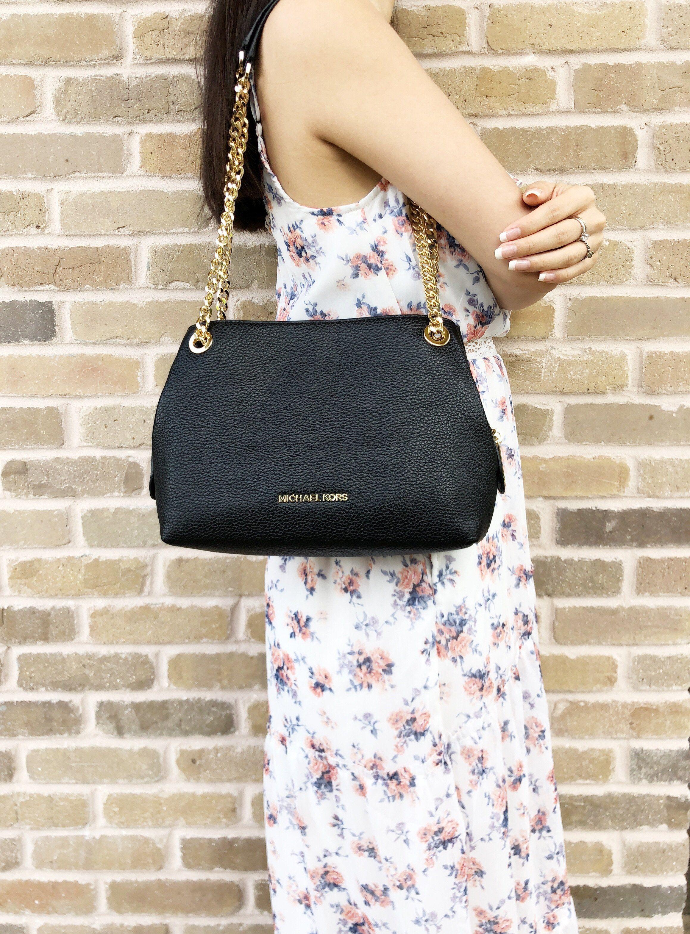 8095e3ef18d3e1 Michael Kors Jet Set Medium Messenger Shoulder Bag Chain Tote black #MK  #Handbags #MichaelKors