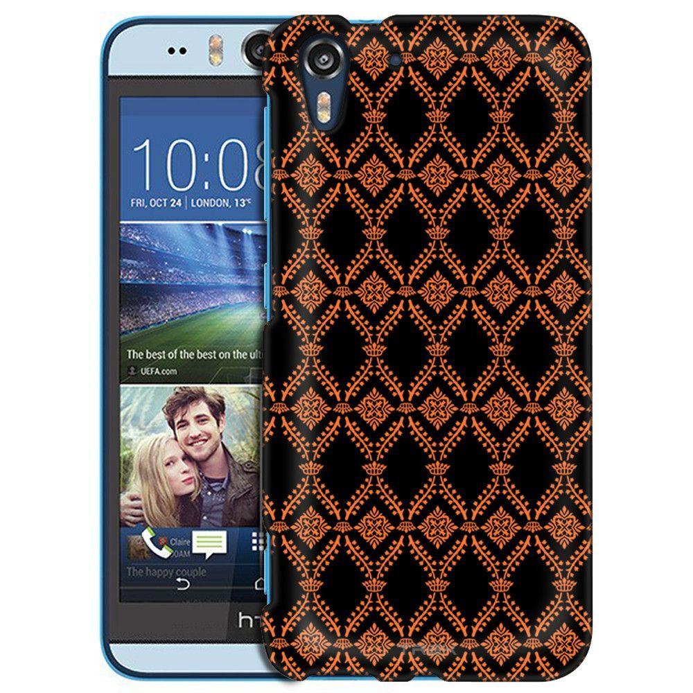 HTC Desire EYE Victorian Wallpaper Orange on Black Slim Case