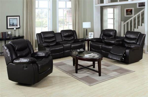 Torrance Espresso Bonded Leather Wood Living Room Sets