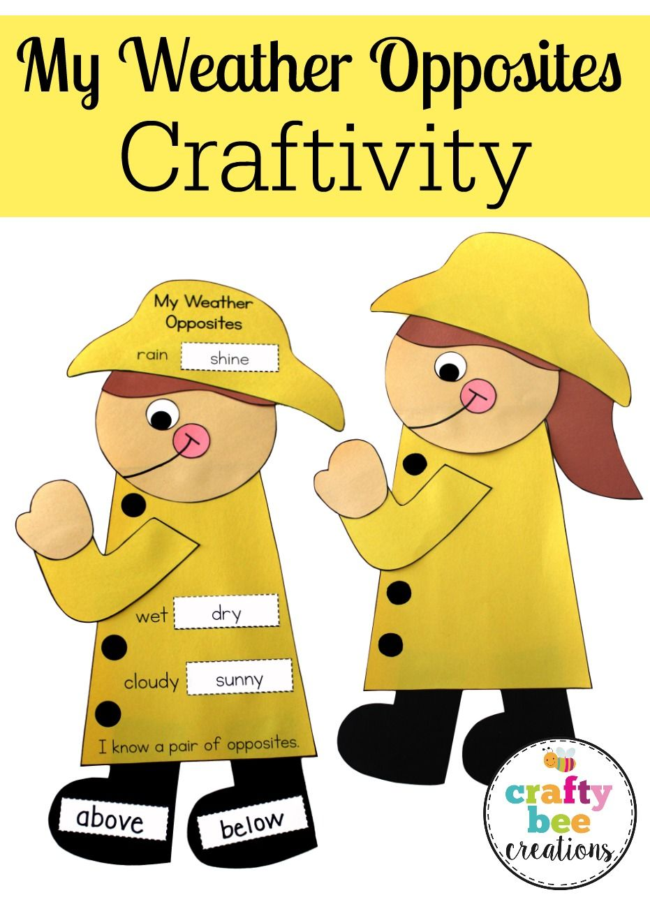 Directions With Weather : directions, weather, Weather, Opposites, Craftivity, Crafts,, Theme,, Spring, Crafts