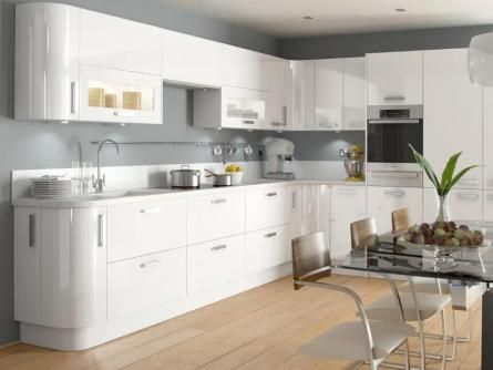 Haddington White High Gloss Lacquer Kitchen White Worktop Wood Floor Grey Walls