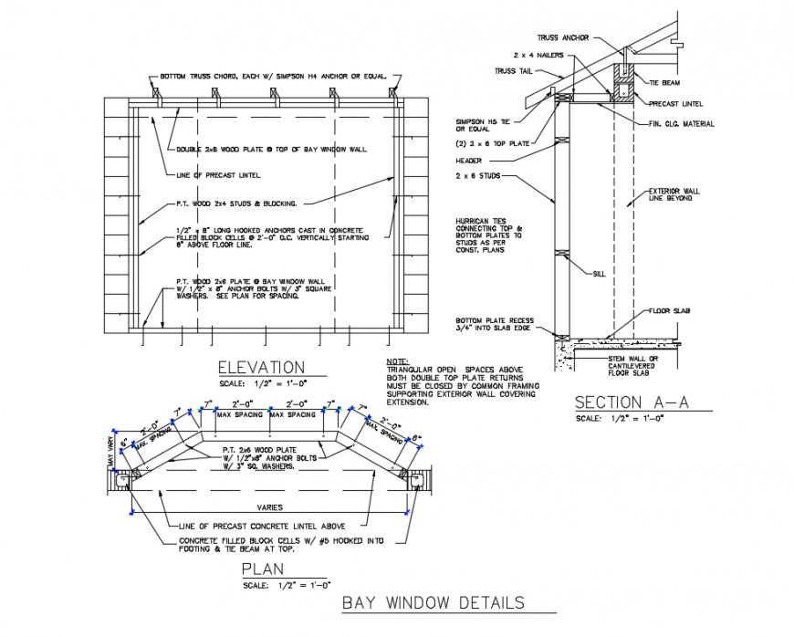 Bay Window Elevation Plan And Section Details That Includes A Detailed View Of Bottom Truss Chord Each W Simps In 2020 Bay Window Window Construction Thermal Panels