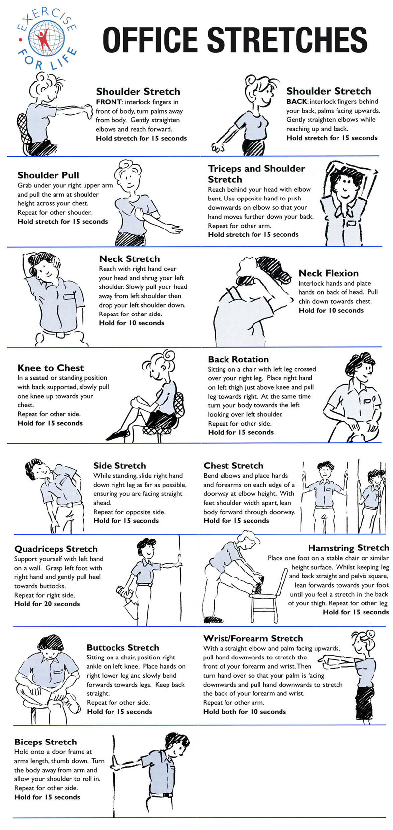 Office stretches to relieve tension, pain, and discomfort
