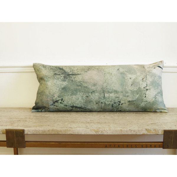 Lumbar cushion pillow. woodland printed linen. Natural interior. Zen... (€94) ❤ liked on Polyvore featuring home, home decor, throw pillows, green accent pillows, lumbar throw pillow, green throw pillows, green tree and green home accessories
