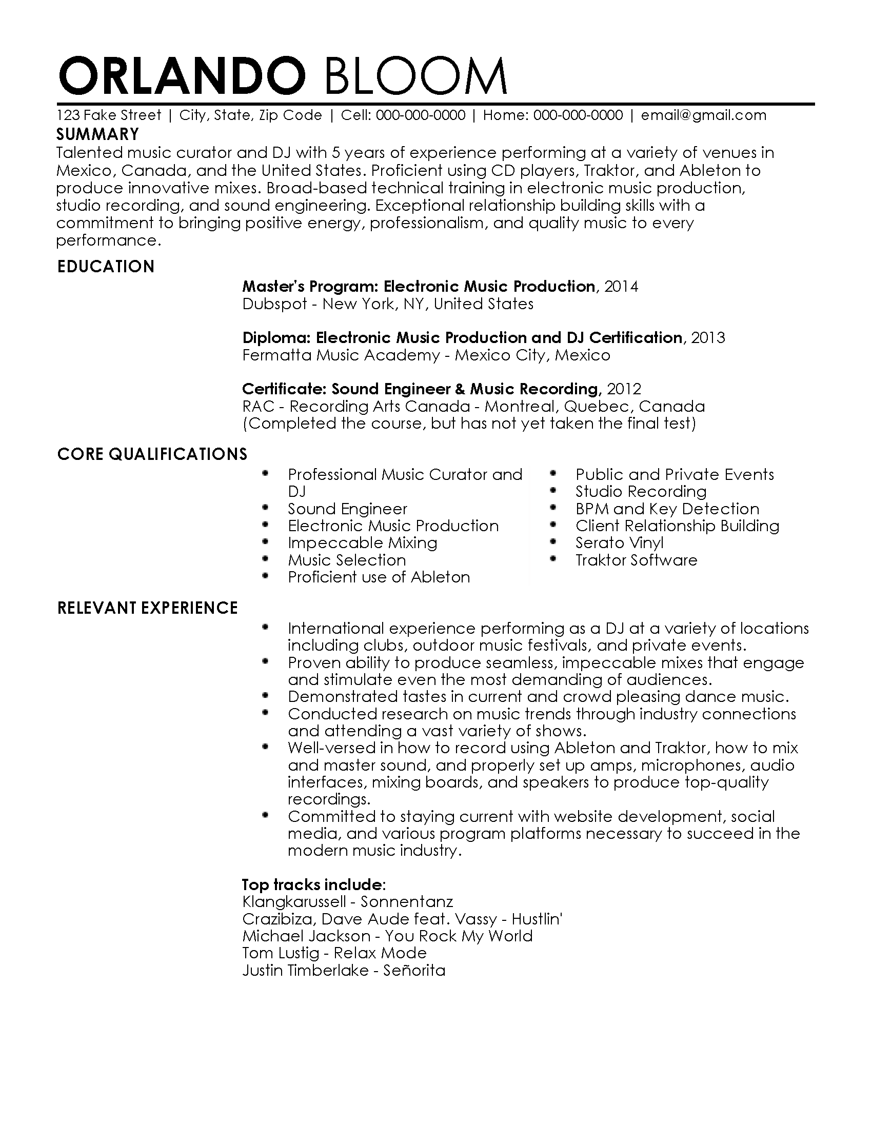Cv Template Quebec