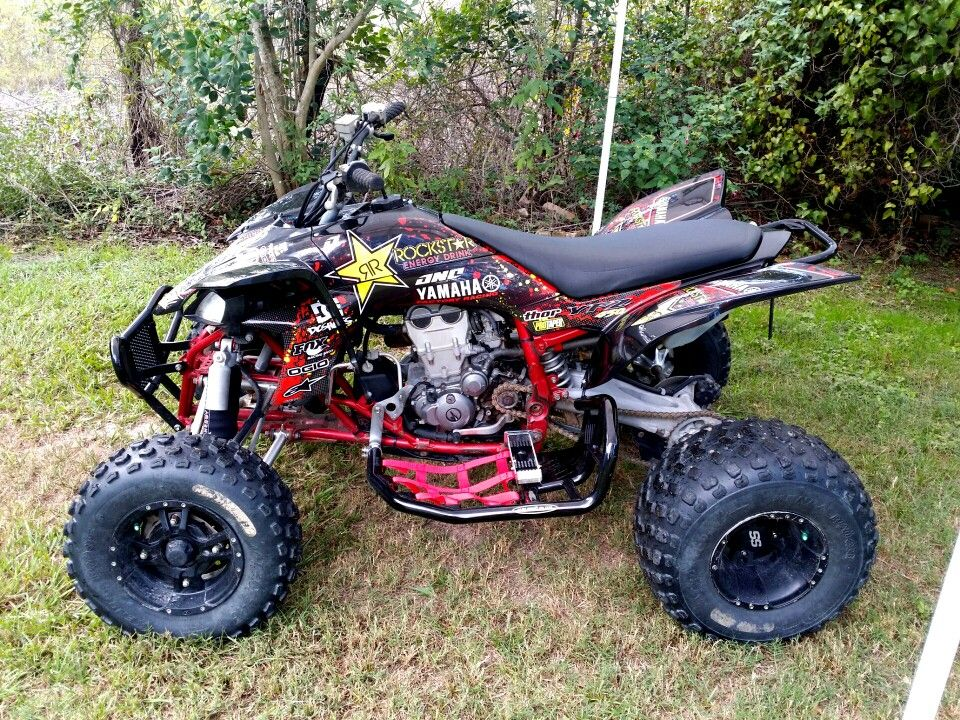 Yamaha YFZ 450 Metal Mulisha atv graphics kit with white