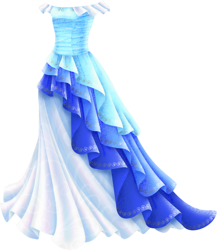 Shimmery Blue Princess Gown Dress sketches, Anime dress