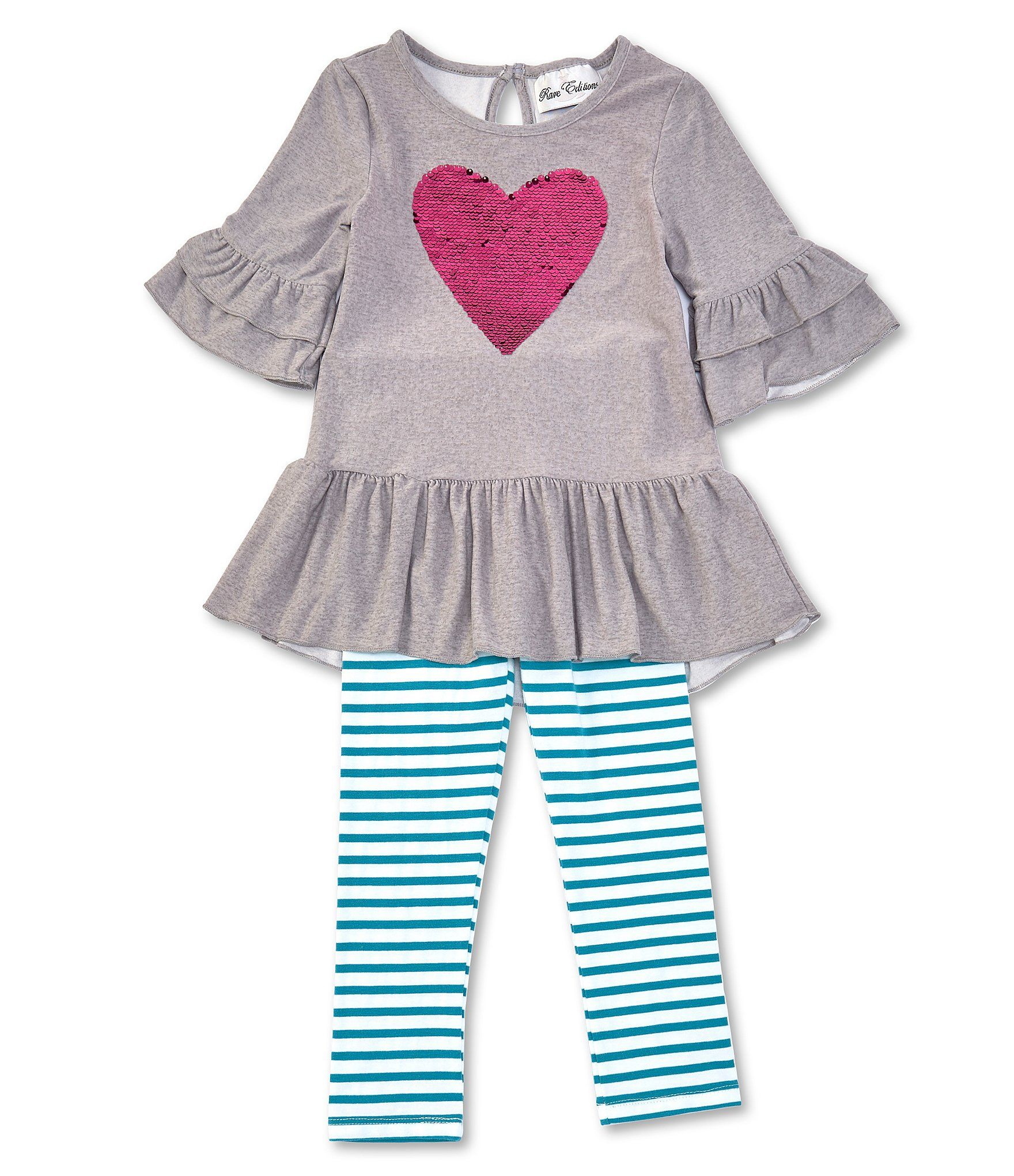 Rare Editions Little Girls 2T-6X Sequin-Heart-Applique Tunic  Striped Leggings Set - Gray 6X #stripedleggings
