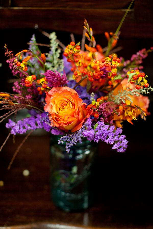 Real Wedding A Purple And Orange Wedding Flower Arrangements Purple Wedding Flowers Wedding Flowers