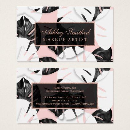 Modern monstera black white pink roe gold makeup business card modern monstera black white pink roe gold makeup business card makeup business cards reheart Image collections