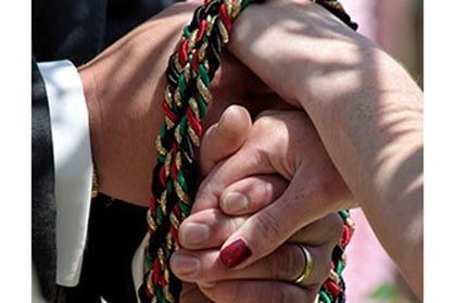 A Wee Bit Irish Handfasting Is An Old Celtic Ceremony Of Betrothal Or Wedding Where The Hands Bride And Groom Are Tied With Cord Ribbon