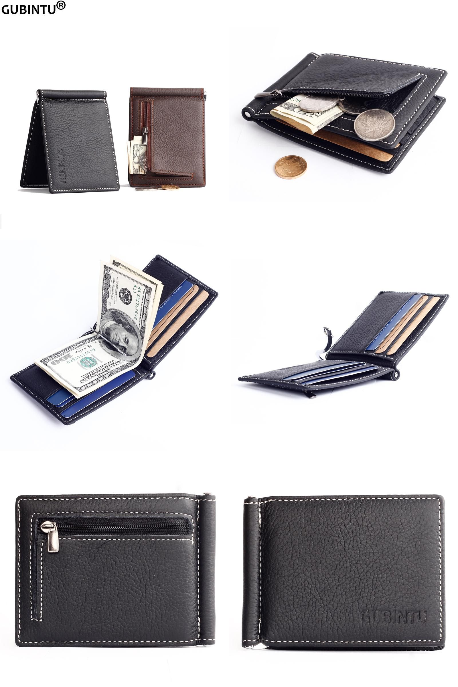 [Visit to Buy] New Men Genuine Leather Wallet Fashion Brand Slim Front Pocket Money Clip Wallet ZC6018 #Advertisement