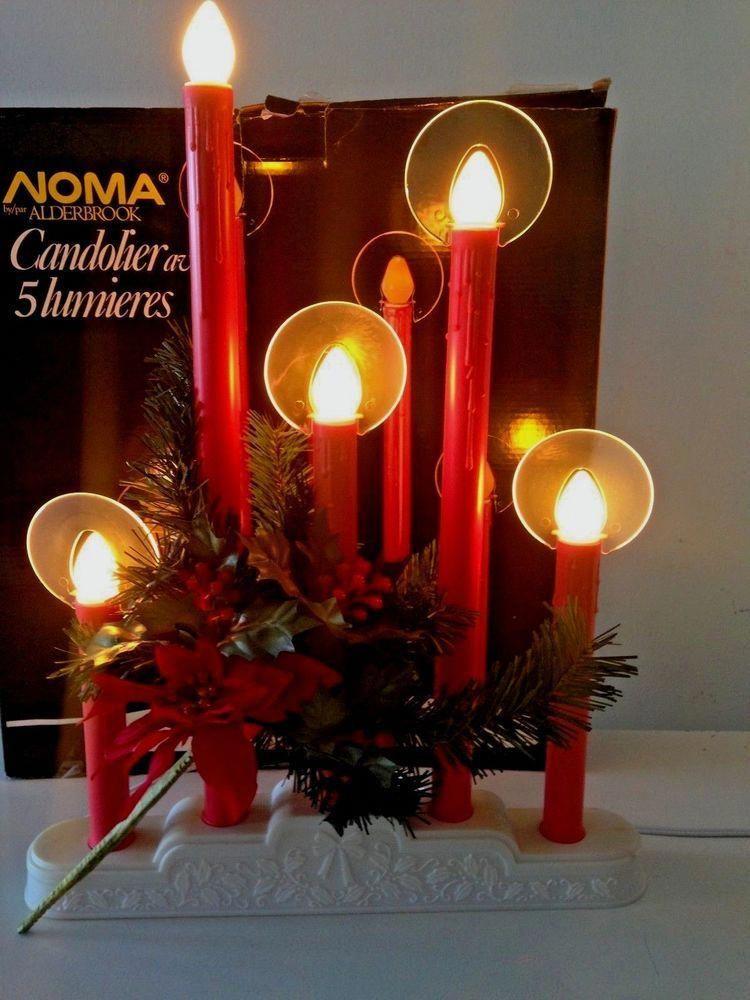 NOMA Christmas LIGHTS Electric Window Candle 5 Light Candelabra Poinsettia  NOS #christmaslights - NOMA Christmas LIGHTS Electric Window Candle 5 Light Candelabra