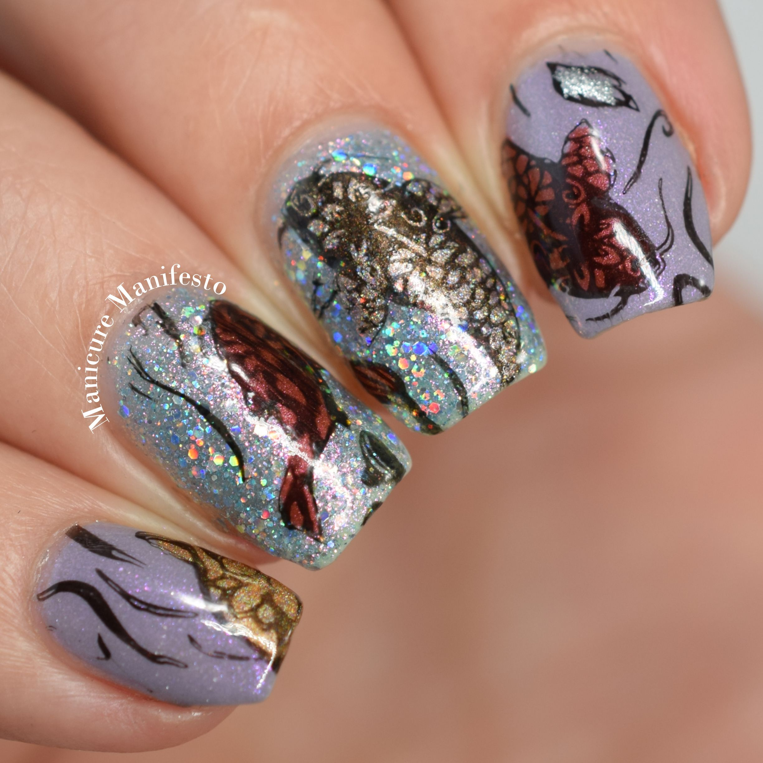 Koi fish pond reverse stamped nail art. I started with a base of ...