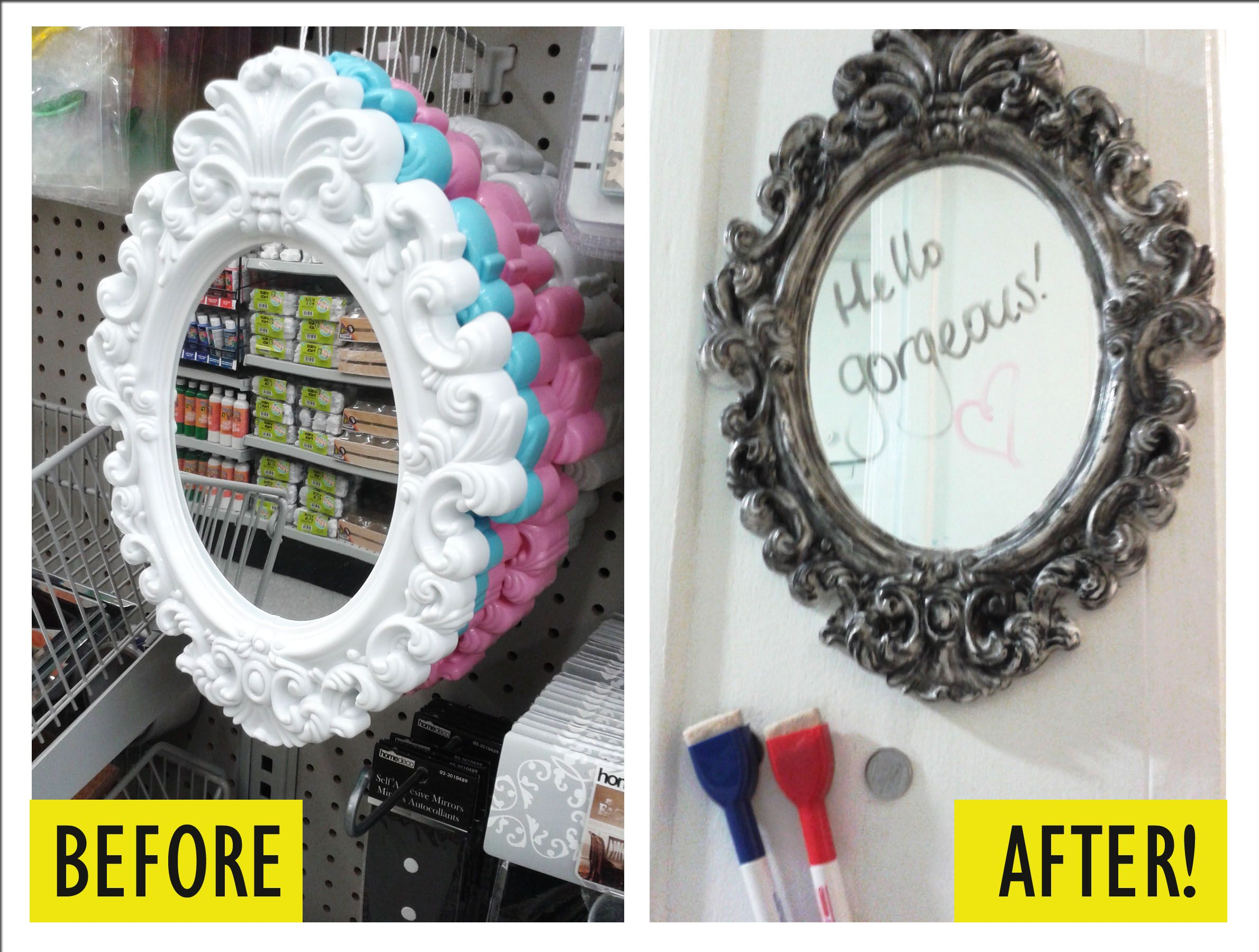 2$ plastic mirror + acrylic paint + Nickels taped to the wall + magnetic dry markers = Inexpensive & fancy dry-erase board for your entrance that you can check your makeup in :)