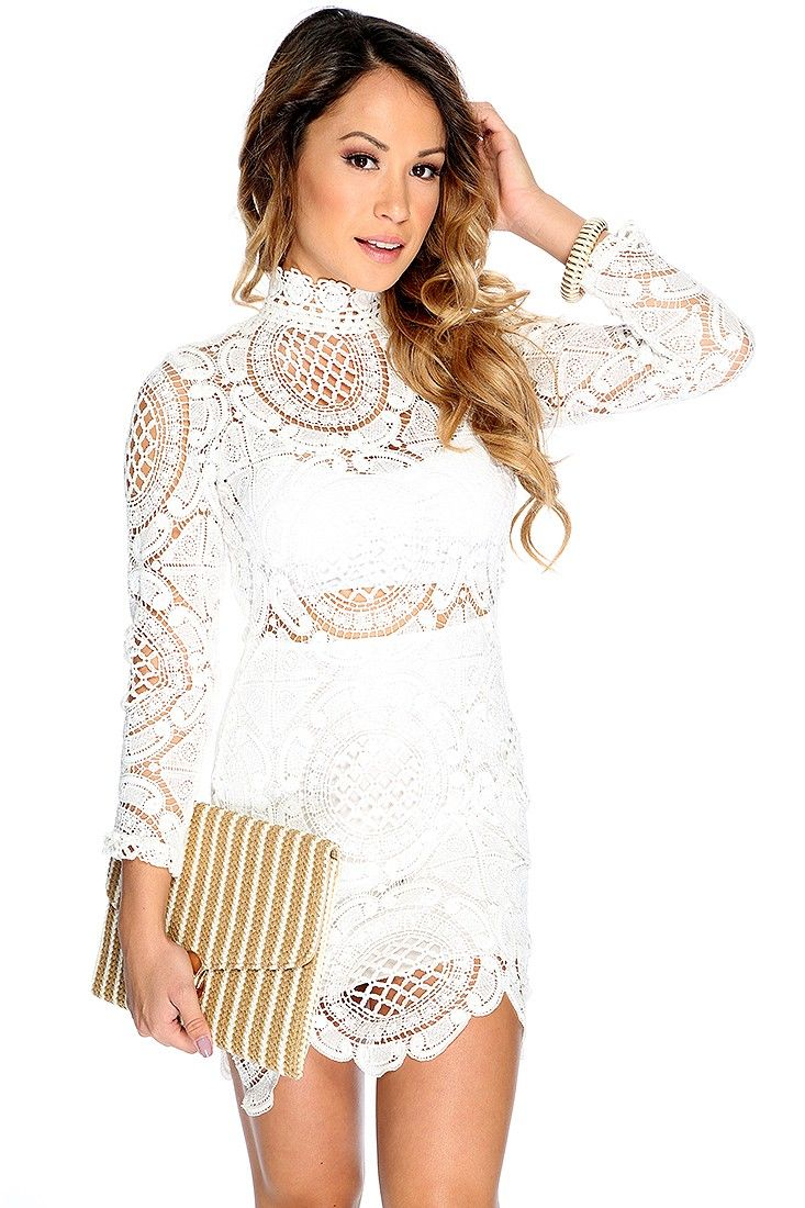 Sexy white long sleeve crochet finish cocktail party dress