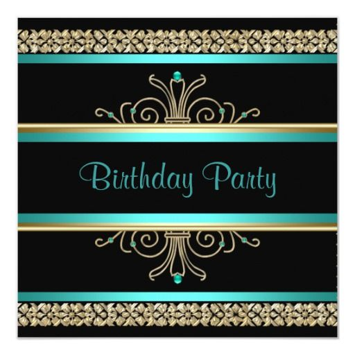 Aqua Teal Blue Gold Black Womans Birthday Party Invitation | Zazzle.com images