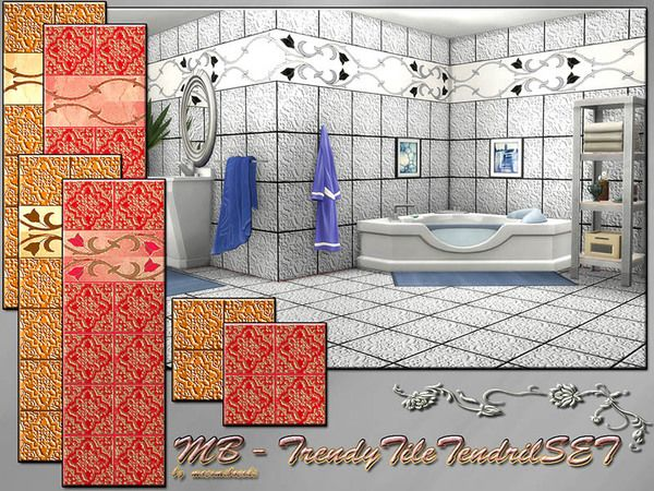 The Sims Resource: Trendy Tile Tendril SET • Sims 4 Downloads