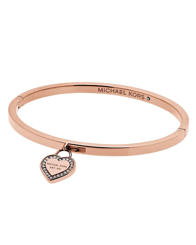638afe82935fc MK Logo Heart Charm Bracelet. MK Logo Heart Charm Bracelet Bangle Bracelets  With Charms