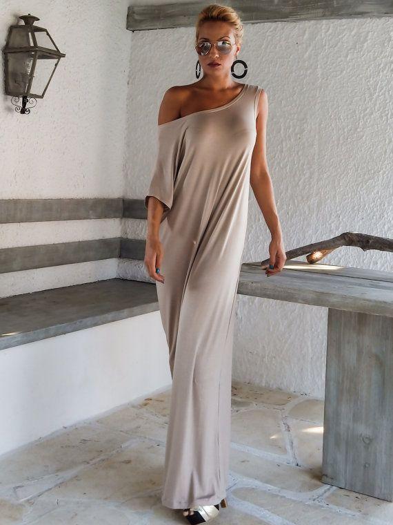 viscose maxi dress / beige kaftan / asymmetric plus size dress