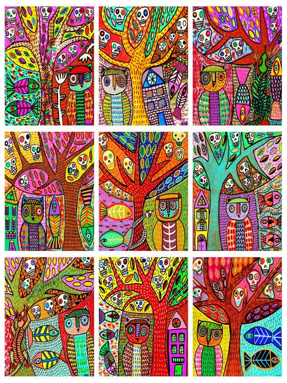 9  UnCut ACEO's  Day Of The Dead Owl Tree' by SandraSilberzweigArt, $23.99