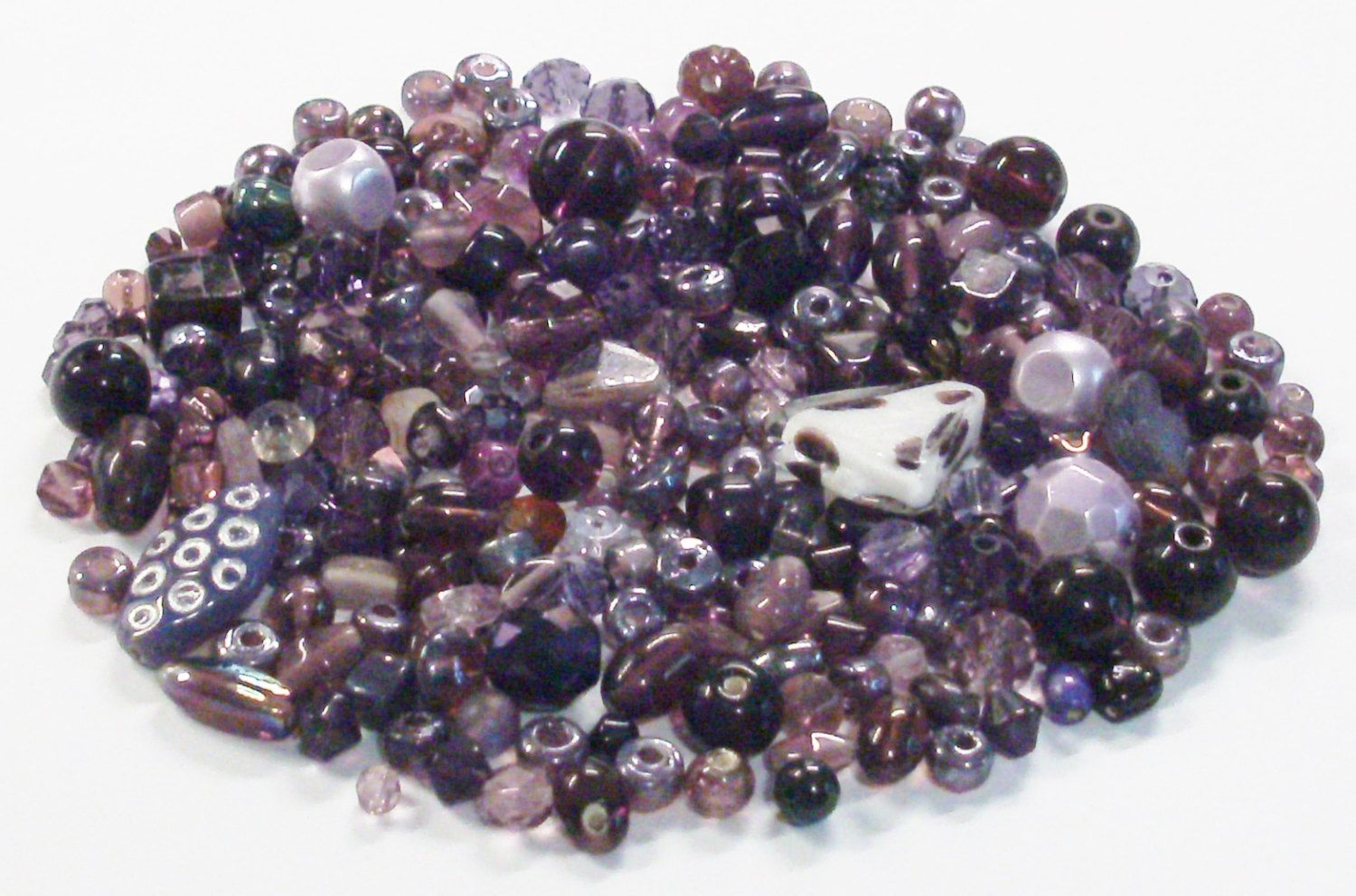 Mixed Lot of 3.3 Oz. of Beads in Shades of Purple by BeadsFromHaven on Etsy