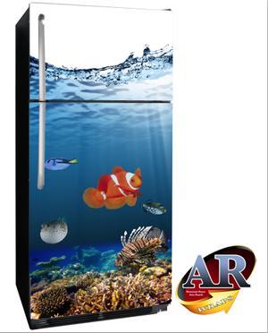 Refrigerator Wraps Sticker Ocean Fish Refrigerator