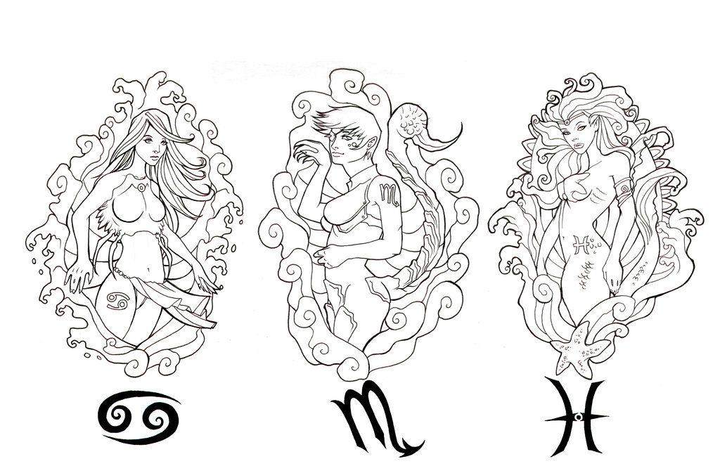 Water Zodiac Pinup Stencil By