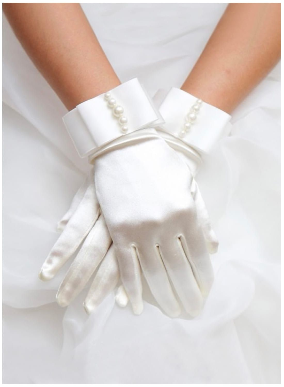 Vintage Style White Satin Gloves - British Retro