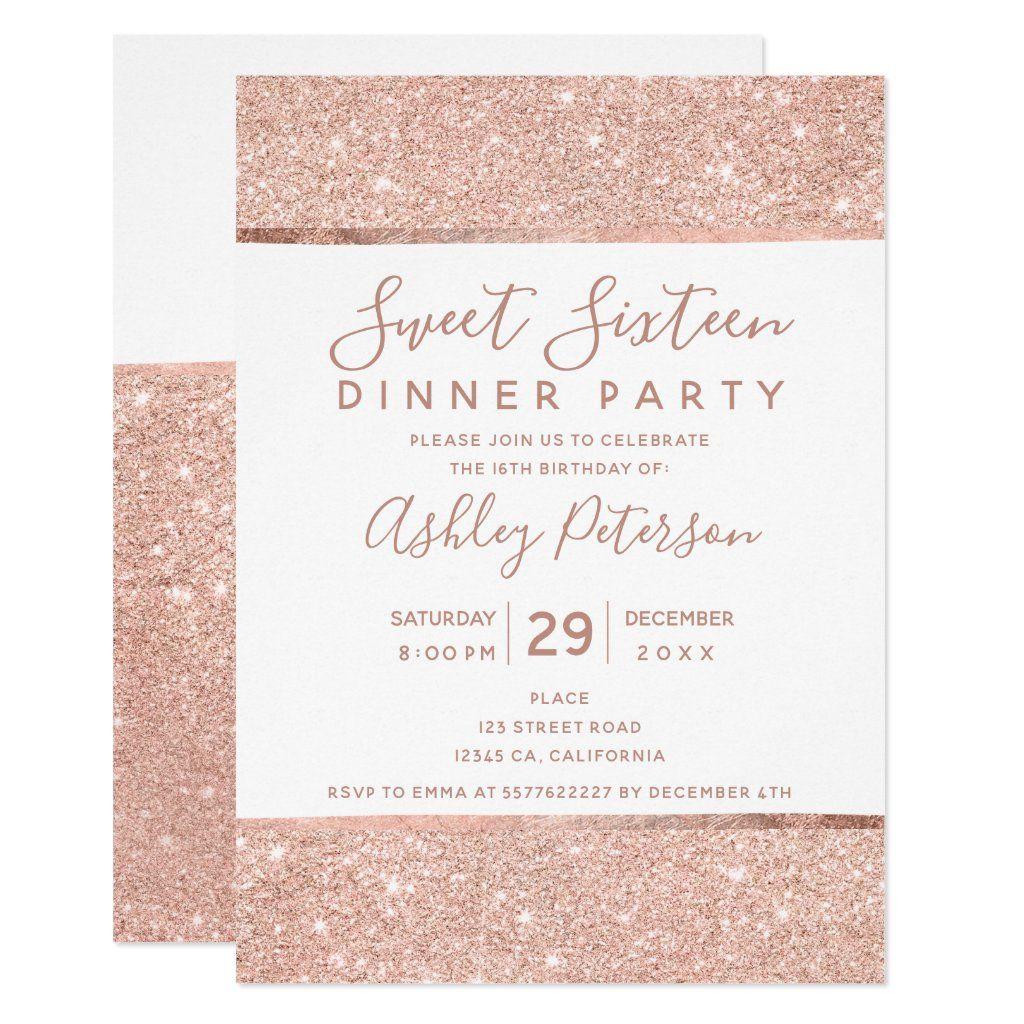Style Name ALICIA Printable Rose Gold Glitter Paris Invites /& Rsvp postcards