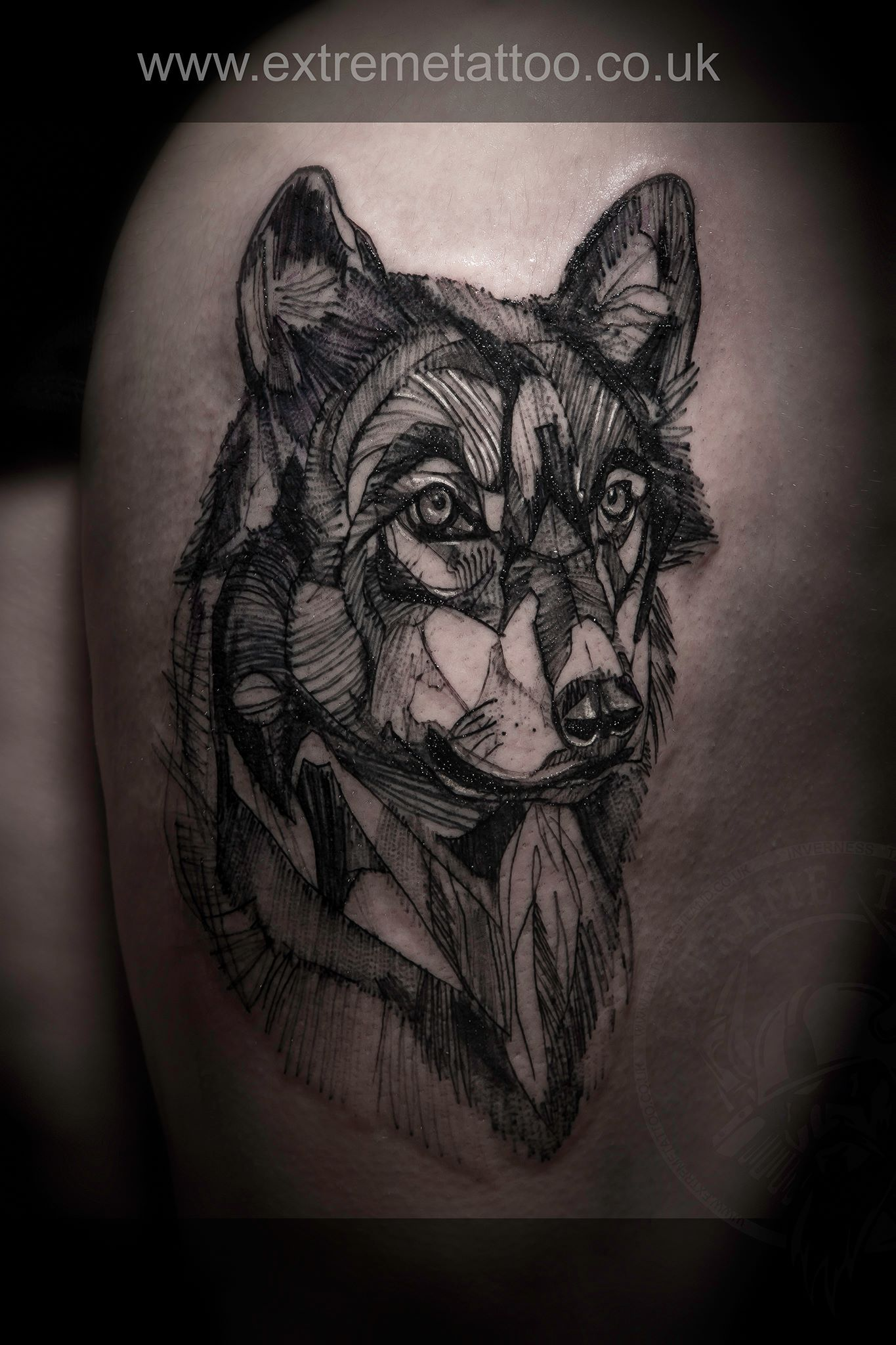 Geometric Wolf Done At Extreme Tattoo Piercing Inverness Highland Scotland By Dan Lica At Our Studio You Can Get All Kind Of Tattoos And Pi Con Imagenes Tatuajes Proyectos