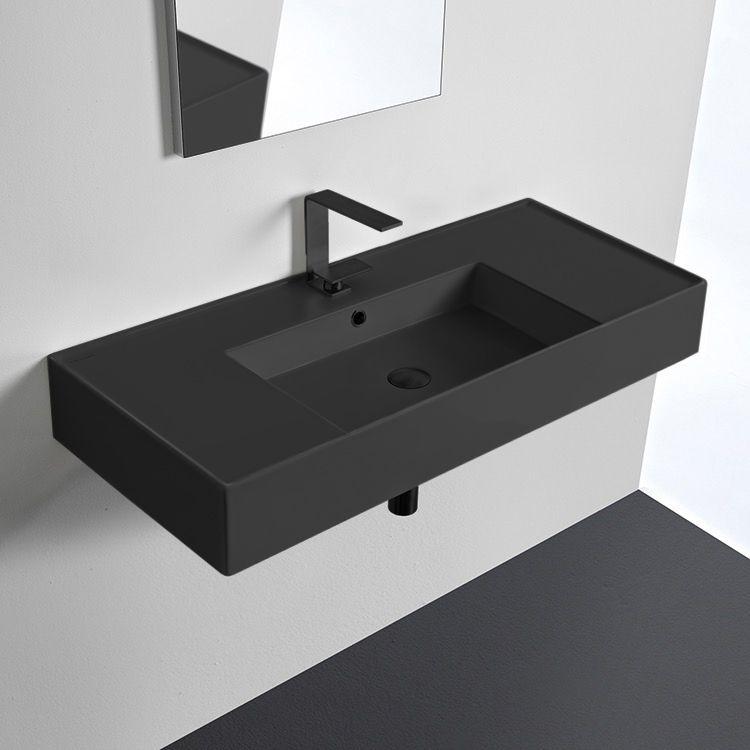Matte Black Ceramic Wall Mounted Or Vessel Sink With Counter Space Wall Mounted Bathroom Sinks Black Bathroom Sink Sink