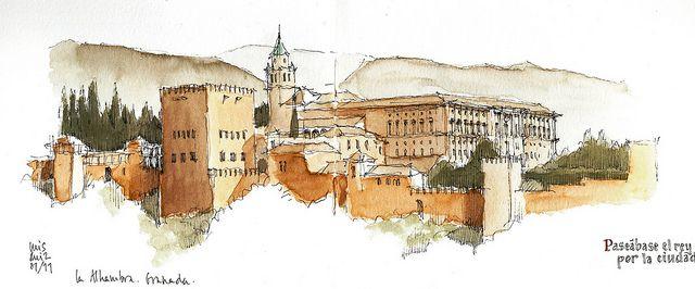 Granada Alhambra Watercolor Architecture Travel Painting Alhambra