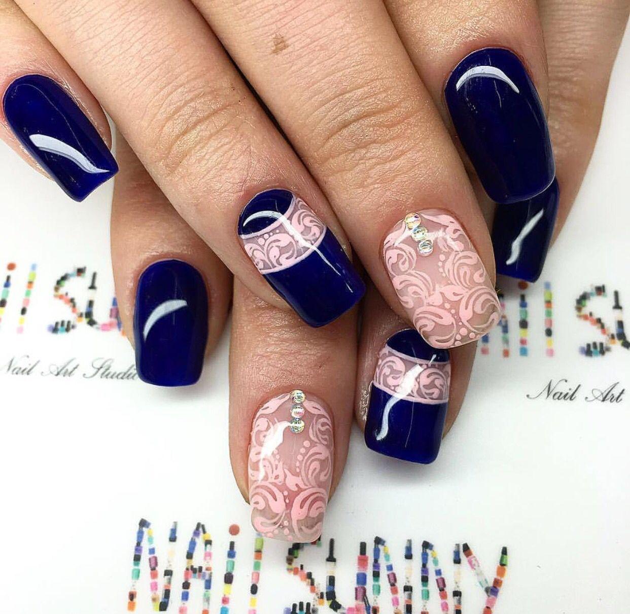 Baby Navy Pink | фото маникюр | Гвоздь, Синий дизайн ногтей ...